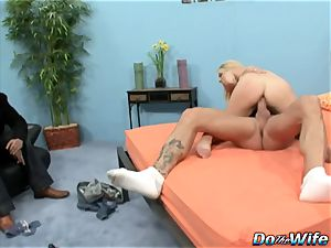 blonde wife deep-throats hefty dick into her hatch and cunt