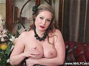 natural hefty boobs black-haired Sophia Delane strokes in nylons