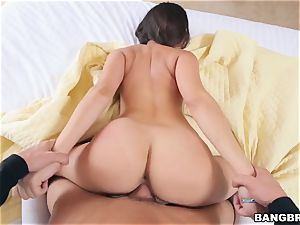 all-natural sweetheart Ashley Adams bouncing on a rock-hard weenie