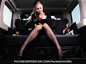 plumbed IN TRAFFIC - Footjob and car lovemaking with Tina Kay