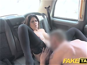 fake cab ample facial spunk shot for brown-haired in stocking