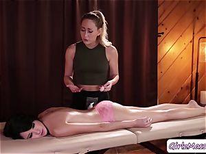 masseuse Carter Cruise puts yoni eggs Cadey Mercurys labia and munches it