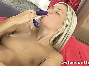 babe in milky stocking massages herself with fuck stick