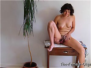 furry college woman jerks her dripping twat