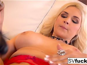 Sarah Vandella uses a ample plaything in her cock-squeezing snatch