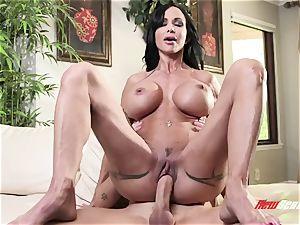 suntanned exotic milf clitties Jade takes her stepson's meaty trouser snake in her tattooed pussy