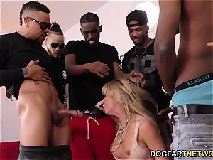 Cherie DeVille Gives blowage To A group Of ebony dude