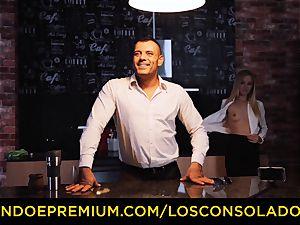 LOS CONSOLADORES - Hungarian platinum-blonde gets banged pov