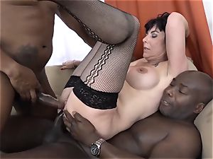 grannie 3somes with two black men ravage shafts in mouth