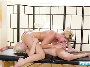 Elsa and India worships super hot sixty-nine stance on the massage table