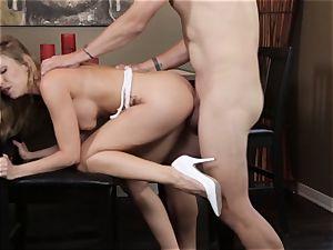 towheaded babe Britney Amber screwing in super hot white heels