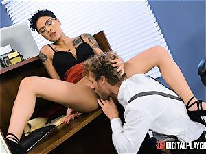 manstick leaping babe Gold takes it in deep