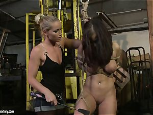 Kathia Nobili smacking the butt of scorching woman with crop