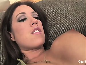 buxom brown-haired Capri gets a boxing lesson to remember