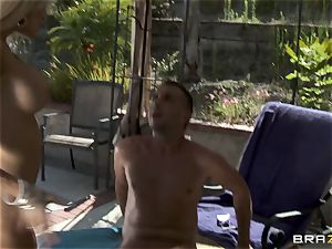 subjugated penetrates his big-chested mischievous chief Helly Mae Hellfire and jizzes in her twat outdoor