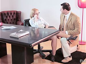 Kathia Nobili taking a length in the office