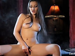 Smoking super-fucking-hot solo sequence with brown-haired babe Dani Daniels