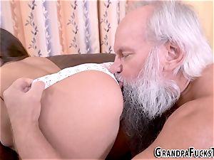 nubile slammed by senior man