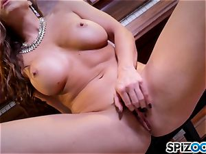 steaming fingering muff action with the mind-blowing black-haired Abigail Mac