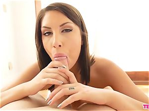 August Ames jacks leisurely And Closely
