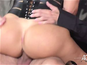 super hot porn legend Aletta Ocean takes 2 shafts in her backside and labia