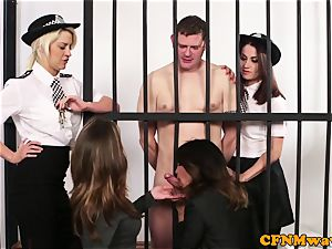 CFNM police female domination tugging off prisoner