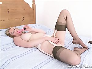 blondie cougar slips of undies high-heeled slippers pulverizes plaything in nylons