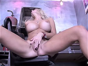 huge-chested hotty Helly Hellfire taunts & frigs her cootchie