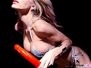 Sarah Jessie slips giant red dildo deep into her bud snatch