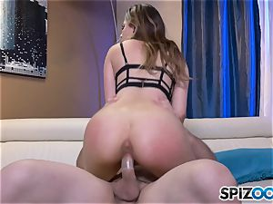 super-naughty Melissa Moore gets her throat full of jism after rock-hard fuck