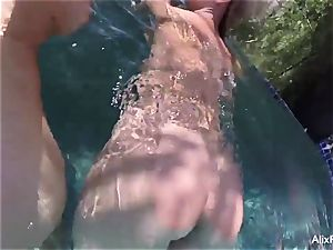 big-boobed blondes Alix and Cherie go skinny dipping