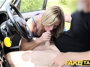 faux taxi Mum with innate orbs gets large brit trunk
